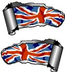 Small Pair Ripped Torn Metal Gash Design & Union Jack British Flag Vinyl Car Sticker 93x50mm each